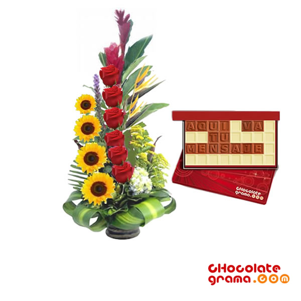 Arreglo Floral Con Chocolategrama Regalos Para El Dia Del