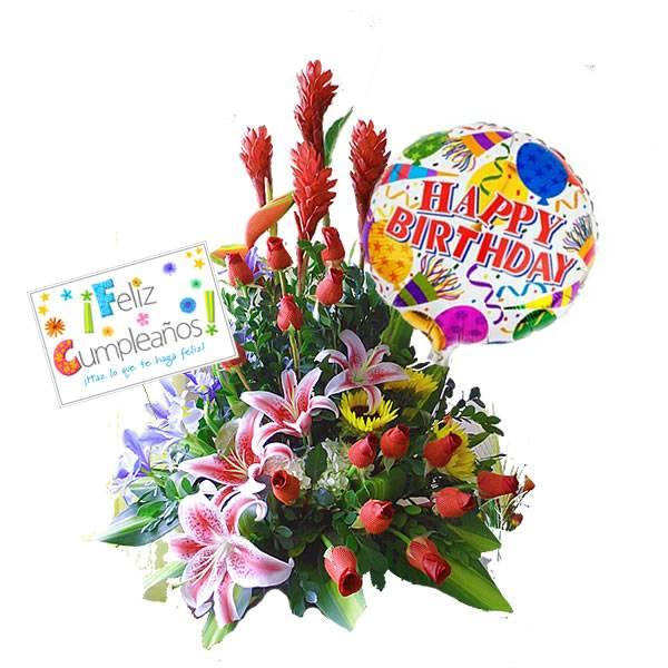 Arreglo Floral Feliz Cumpleaños Regalos Para El Dia Del