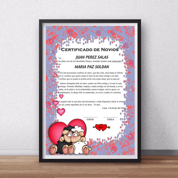 Certificado de Novios, con el nombre de los novios impreso en papel fotográfico de alta calidad. Solo debe enviarnos el nombre de tu novio, el tuyo y la fecha de tu aniversario y lo agregamos al Certificado.