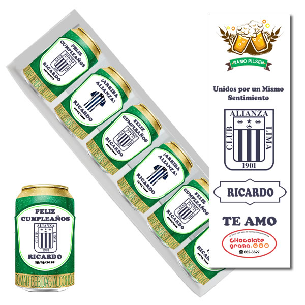 Ramo pilsen de alianza lima, latas de cerveza personalizada lima, peru, latas de cerveza de alianza lima