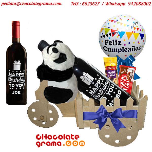 vino personalizado, oso panda de peluche, regalo de cumpleaños