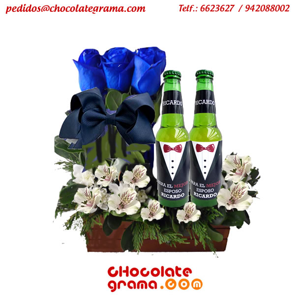 regalos para hombre, regalos de enamorados, flores azules