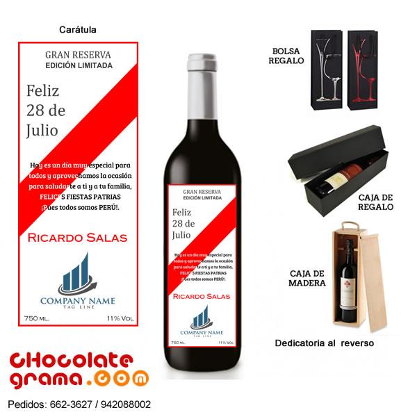 vino personalizado para empresas, vino personalizado con logo, vino por 28 de julio, vino de Fiestas Patrias, lima, peru, delivery