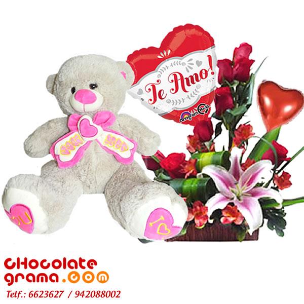 regalo con rosas, regalo con peluche, regalo con globos, regalos para enamorada, regalo para aniversario, regalos para mesario